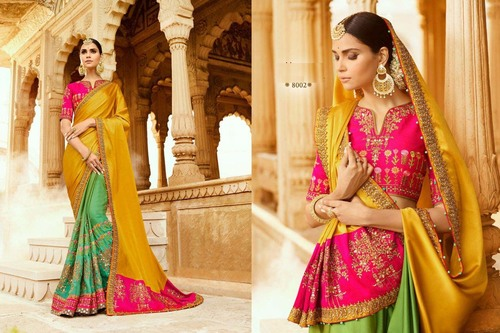 Half Sleve Heavy Designed Wedding Wear Sare