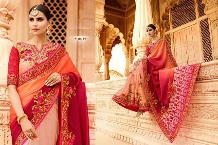 Neck Designed Wedding Wear Saree