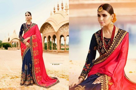 Navy Blue Designer Wedding Wear Saree