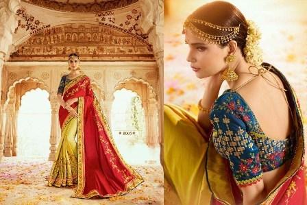 Dark Coloured Designer Wedding Wear Saree