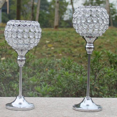 Free shiping metal silver plated candle holder with crystals