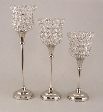 Clear Crystal Bead Votive Candle Holder with Nickel Finish Stem 14.5