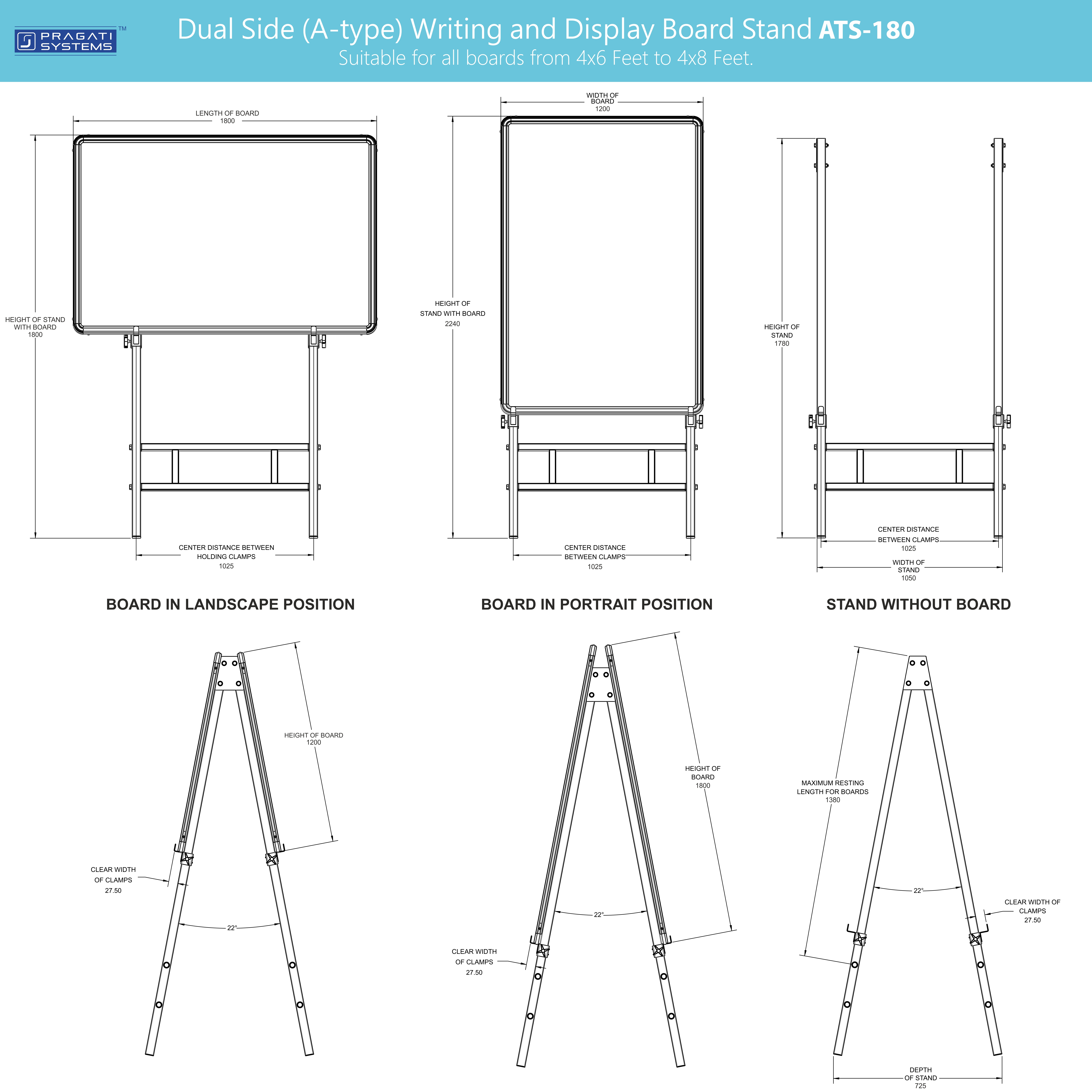 Dual Side Writing & Display Board Stand (Upto 4x6)