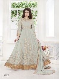 Sky Blue Coloured Net Designer Anarkali Suit