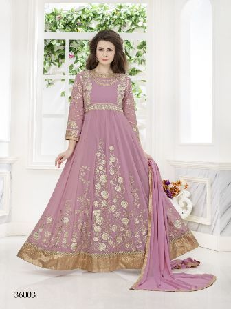 Purple Coloured Net Anarkali Suit
