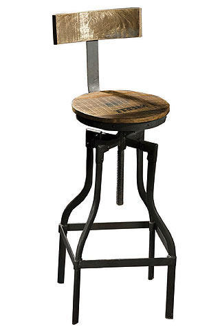 Crank Bar Stool With Wooden Seat