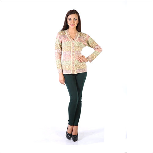 Ladies Knit Floral Patterned Cardigan