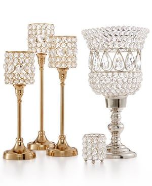 ITALIAN CRYSTAL BEADED GOLD PLATED TRIPLE T-LITE CANDLE HOLDERS