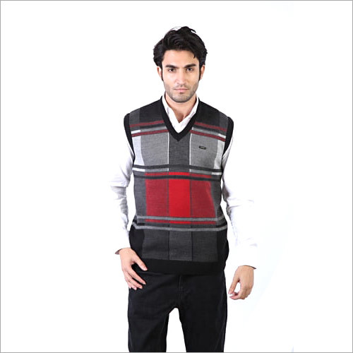 Men's Half Check Sleeves Sweater