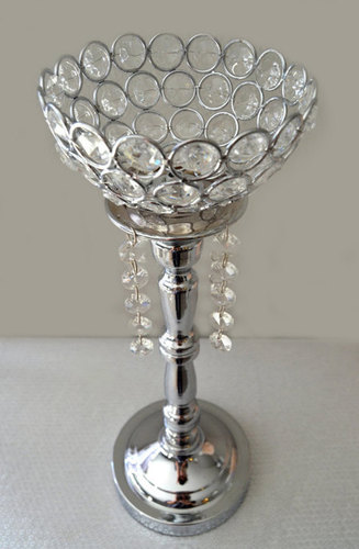 Silver Bling Rhinestone Flower Ball Stand OR Candle Holder Wedding