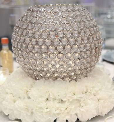 White Carnations With a Crystal Globe Candle Holder