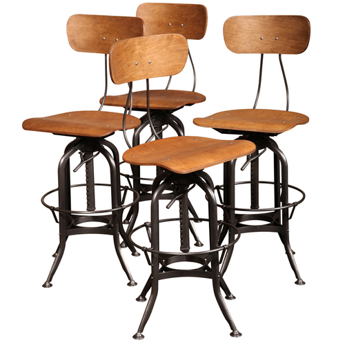 Industrial Adjustable Height Industrial Bar Chair & Stool Set