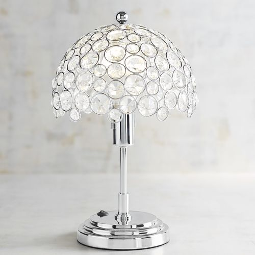 Crystal Bead Mini Cordless Lamp with LED Bulb