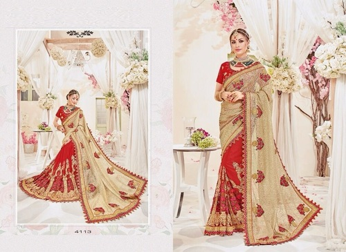 Heavy Work Net & Silk Saree