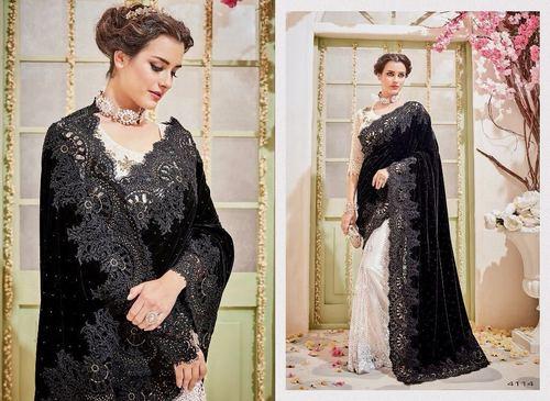 Exclusive Designer Velvet & Silk Saree