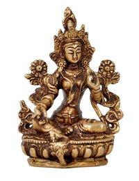 Aesthetic Decors Goddess Tara Sitting on Base Showpiece - 9.5 cm (Brass, Gold)
