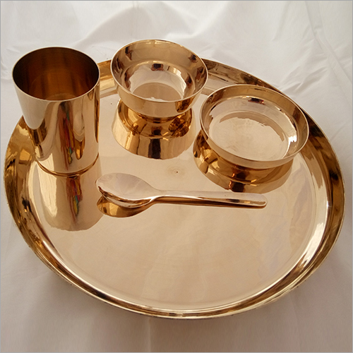 Bronze, kansa Dinner Set Begi Plate 5 Pieces
