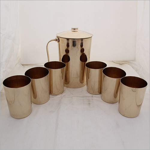 bronze Water Jug and 6 Picess Glass Set