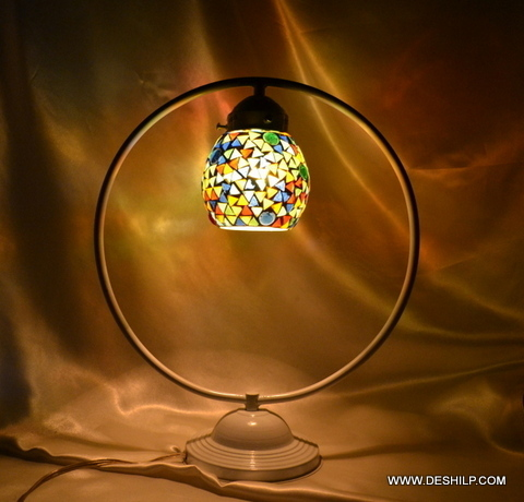 Flowers Design Mosaic Table Glass lamp Home Decorative Table