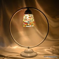 Design Lamp Round Colorful Flowers Design Table Glass lamp