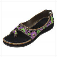Ladies Black Printed Sandals