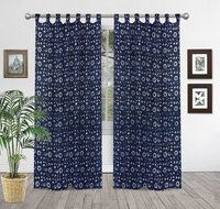 Indigo Blue Block Print Curtain