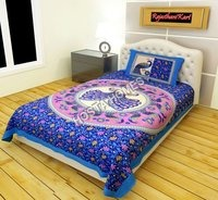Peacock Print Rajwara Print Single Bed Bedsheet