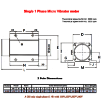 2 pole Single Phase Micro Vibrator Motor