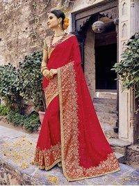 Red Chiffon Designer Saree