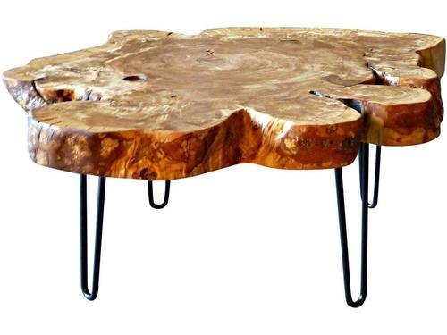 Live Edge Top & Iron Hairpin Legs Coffee Table