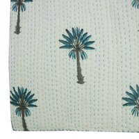Blue Palm Tree Cotton Kantha Quilt