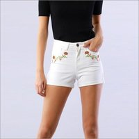 Floral Embroidered Ivory Shorts