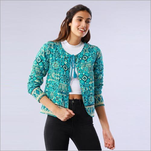 Mosaic Printed Blue Quilted Jacket