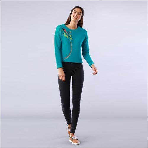 Bird Embroidered Blue Drop Shoulder Sweatshirt