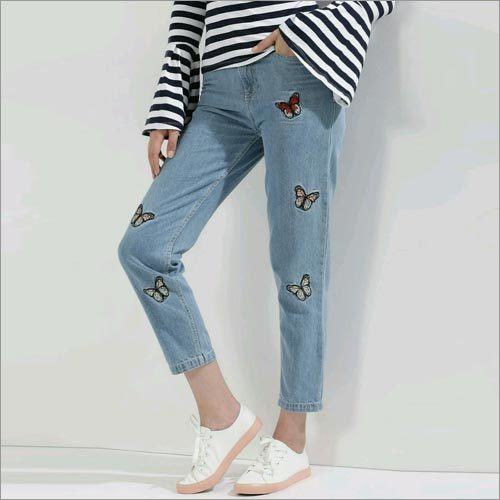 Butterfly Patch Mom Jeans
