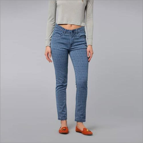 Curvy Owl Ankle Length Blue Jeans