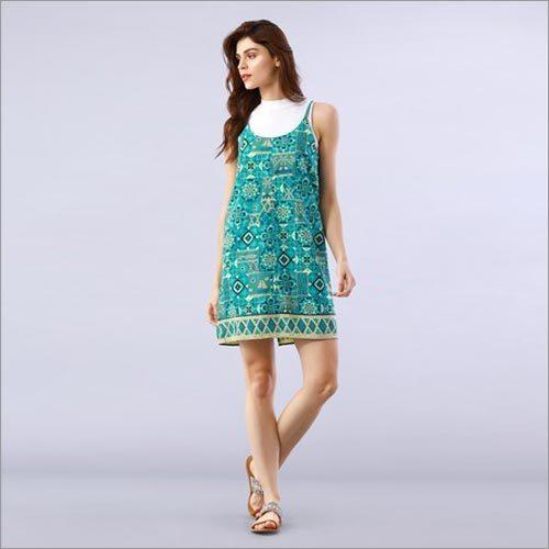 Mosaic Printed Blue Slip Dress
