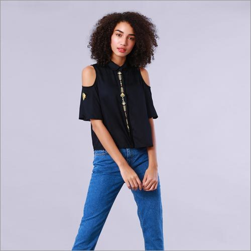 Owl Embroidered Cold Shoulder Black Shirt