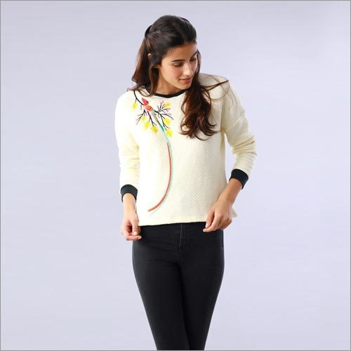 Bird Embroidered Ivory Drop Shoulder Sweatshirt