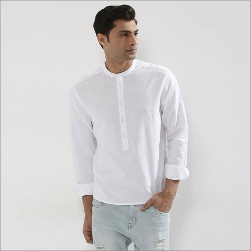 Shirt With Chinese Band Collar