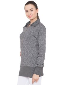 Alvenda Solid Turtle Neck Casual Women'S Grey Sweater