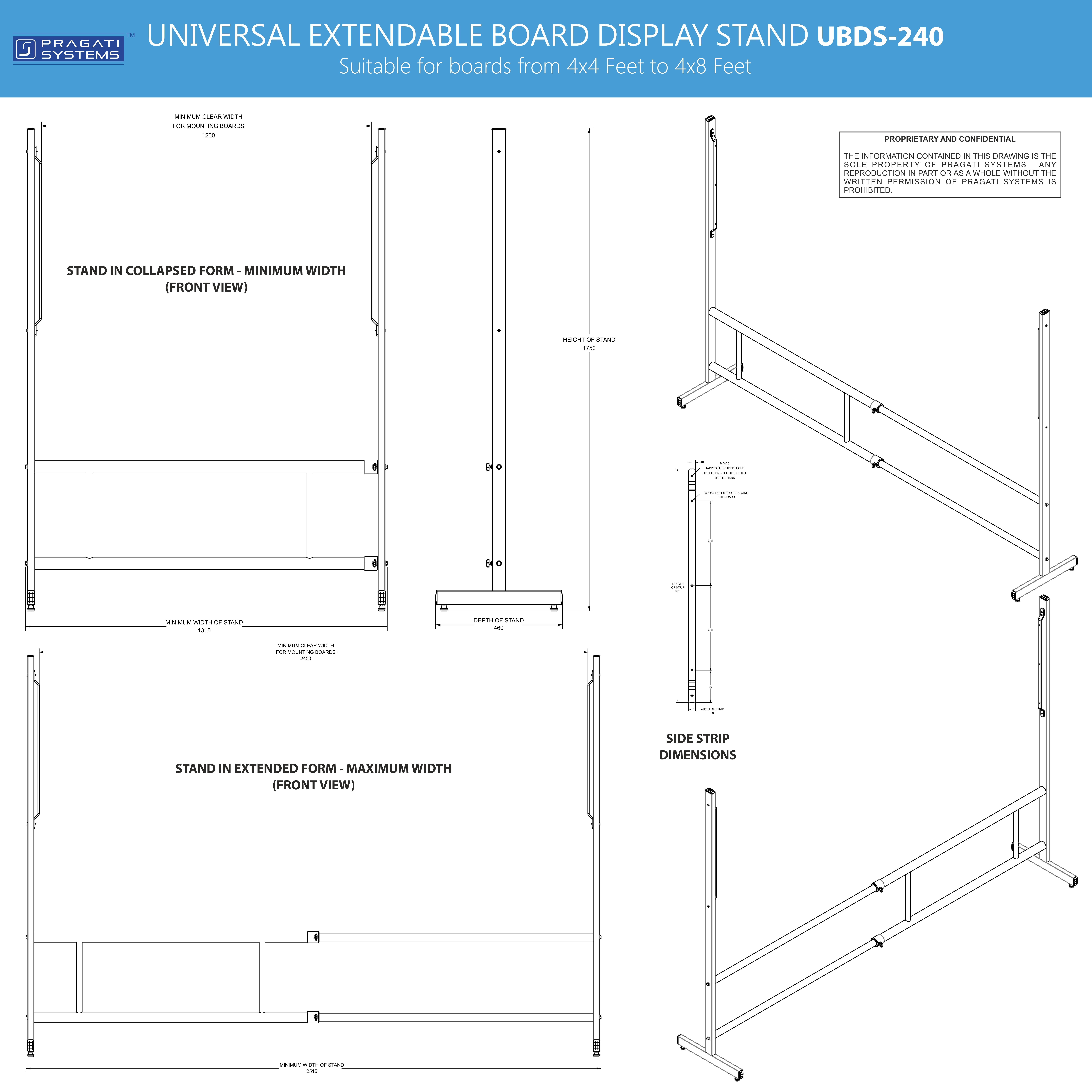 Universal Board Display Stand Upto 4x8 Feet Boards