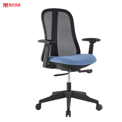 Fashion high quality blue mesh swivel office chair with footrest