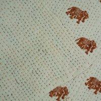 Elephant Print Kantha Quilt