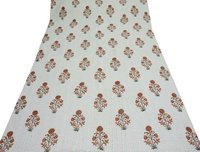 Floral Block Print Kantha Quilt