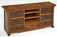 Reclaimed wood center tv unit