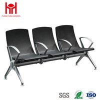 Popular high quality comfortable 3 Seat PU padded waiting chair for Airport with 4 armrest
