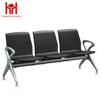 Hot sale high quality 3 Seat PU padded waiting chair for Airport with Iron armrest