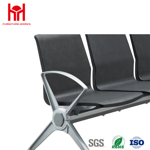Hot sale high quality 3 Seat PU padded waiting chair for Airport with 4 Aluminum armrest