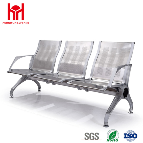 Popular high quality comfortable stainless steel 3 seats waiting chair for airport
